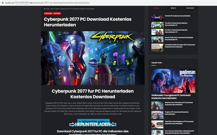 Betrüger locken mit kostenlosem Cyberpunk 2077 1
